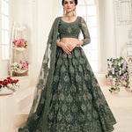 Greyish Green Net Embroidered Wedding Lehenga Choli Online India