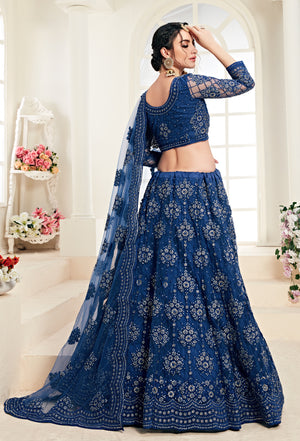 Blue Net Embroidered Online Designer Lehenga Choli Collection