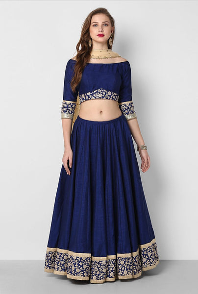 Navy Blue Silk Bollywood Lengha Choli Fashion Dress