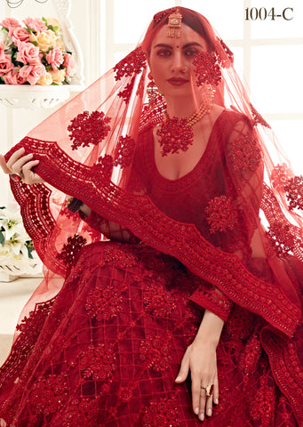 Red Net Embroidered Online Designer Wedding Lehenga Choli Shopping