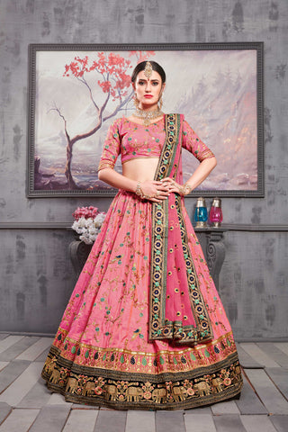 Rouge Pink Embroidered Banarasi Silk Wedding Lehengas Online Shopping