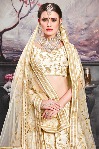 Pearl White Embroidered Silk New Wedding Lehenga Collection