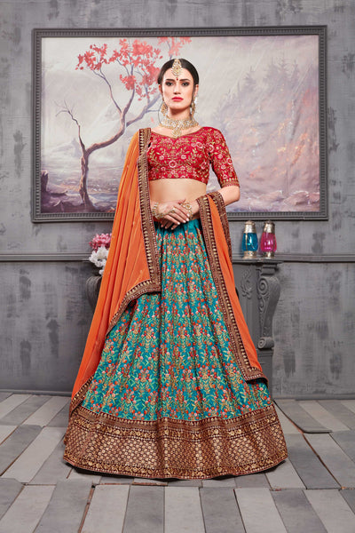 Teal Blue Embroidered Banarasi Silk Beautiful Lehengas For Wedding