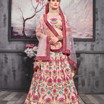 Light Pink Embroidered Silk Beautiful Indian Wedding Lehengas