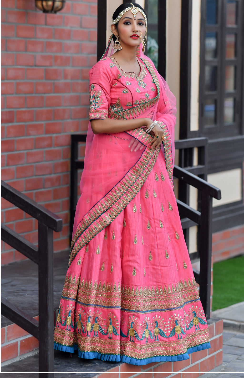 Pink Embroidered Chennai Silk Wedding Lehenga Choli With Price