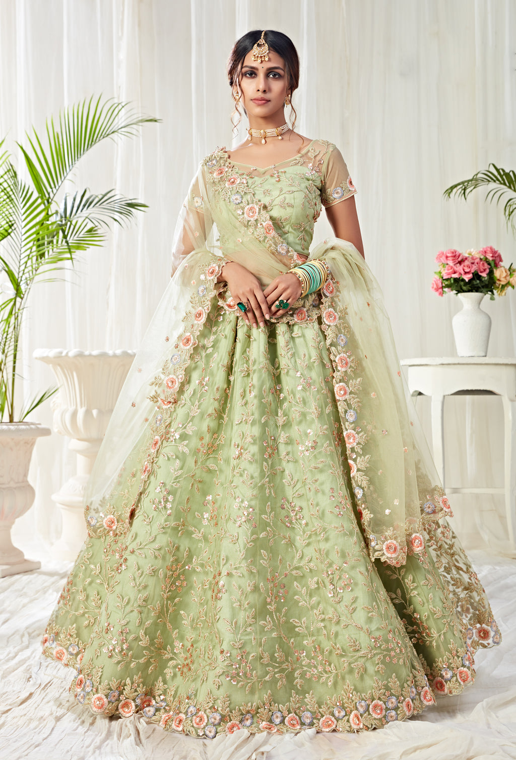Light Pista Net Embroidered Latest Lehenga Designs For Wedding With Price