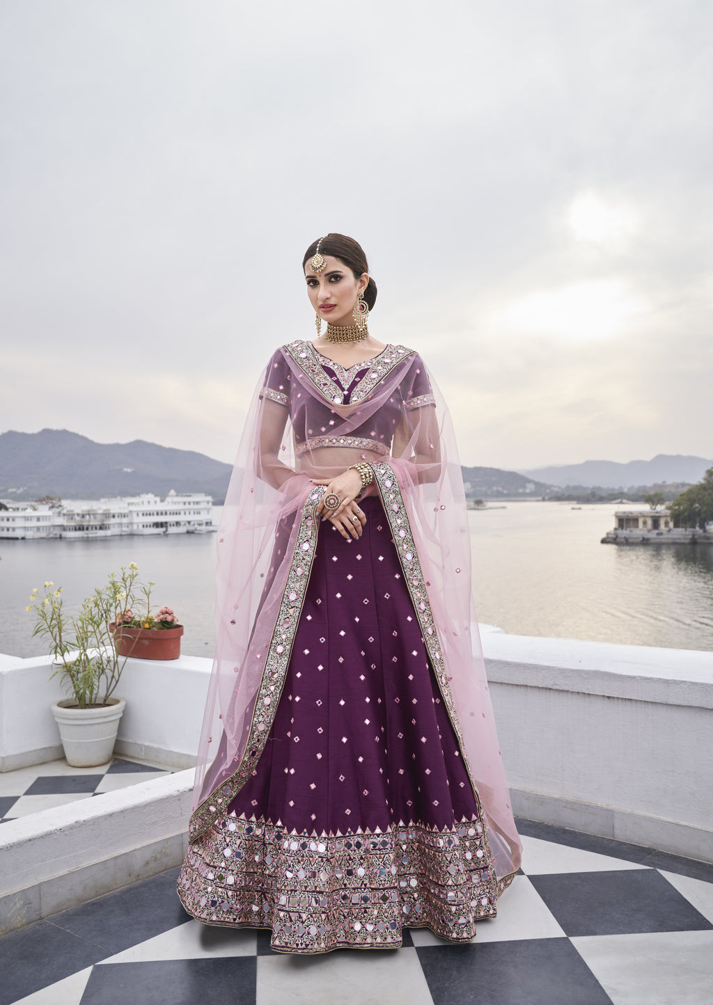 Dark Purple Art Silk Embroidered Latest Wedding Lehenga Choli Online