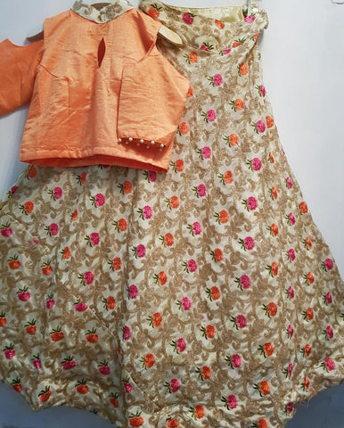 Peach and Beige Chinon Floral Embroidery Lehenga Choli Bollywood