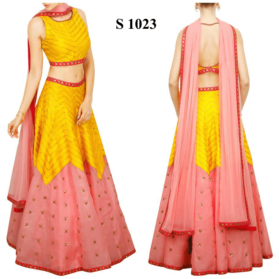 Twill Yellow Pink Bollywood Lehenga Choli Online Sale ,Indian Dresses - 1