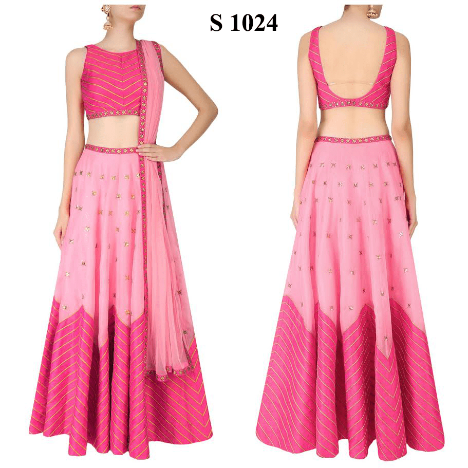 Two Tone Pink Zigzag Bollywood New Fashion Chaniya Choli ,Indian Dresses - 1