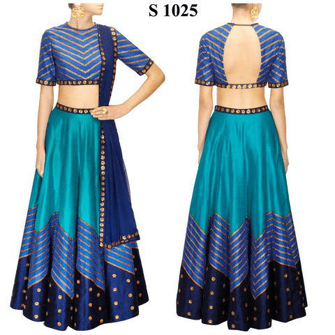 Teal Blue Twill Bollywood Replica Indian Party Lehenga ,Indian Dresses - 1