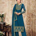 Appealing Sea Green Chiffon Fashion Sarees Online India