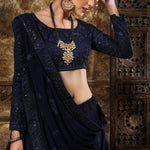 Navy Blue Embroidered Lehenga Choli Designs For Wedding With Price