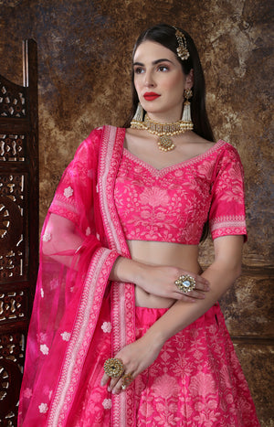 Pink Embroidered Lehenga Choli Dress Online Shopping