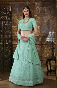 Mint Green Embroidered Lehenga Choli Designs For Wedding With Price