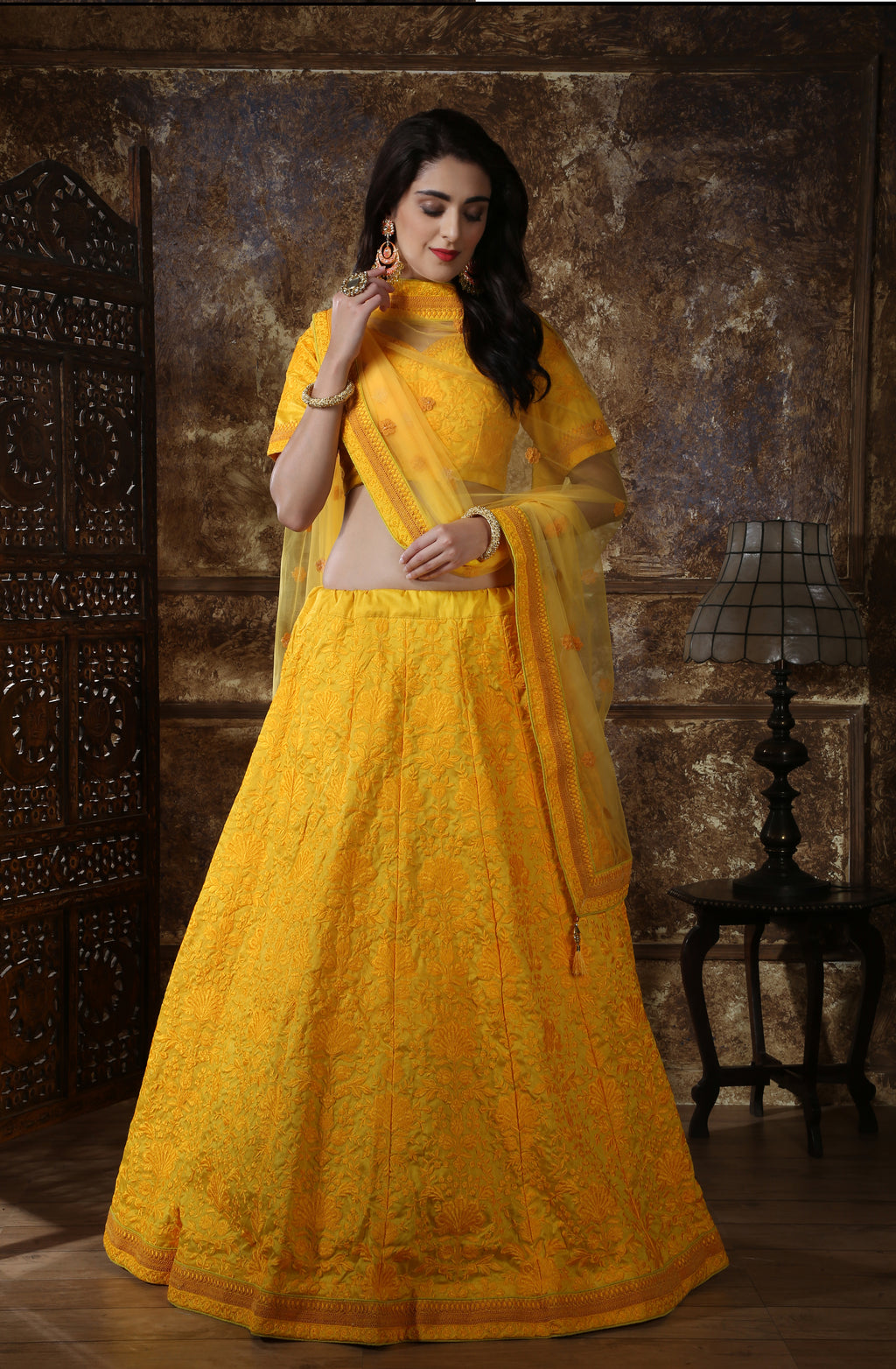 Yellow Embroidered Beautiful Party Lehenga Online Shopping