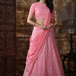 Peach Pink Embroidered Lehenga Choli Designs For Wedding With Price
