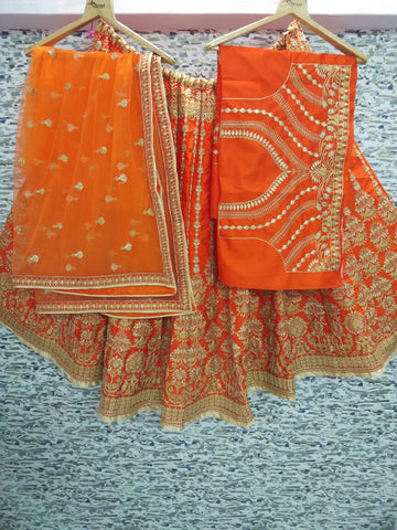 Orange Embroidery Silk Traditional Bollywood Lehenga Choli Online