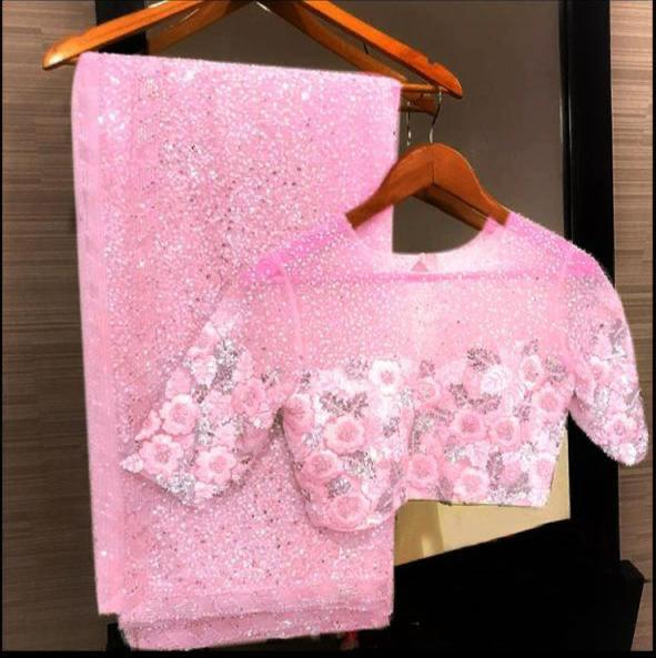 Baby Pink Georgette Sequins Online Shopping Sarees In India