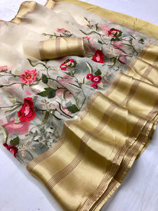 Light Beige Embroidered Organza Party Womens Sarees Online Shopping