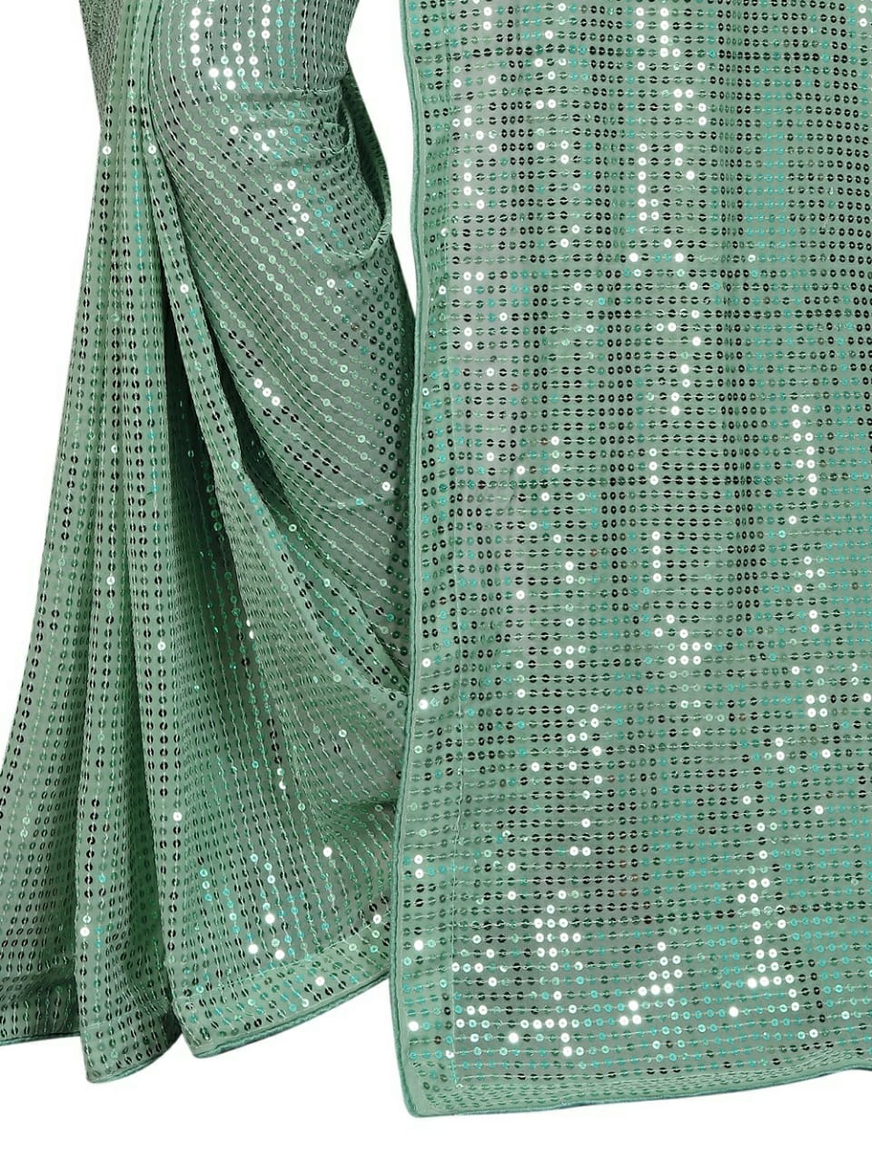 Sage Green Georgette Sequins Saree Indian Dresses Online Shopping