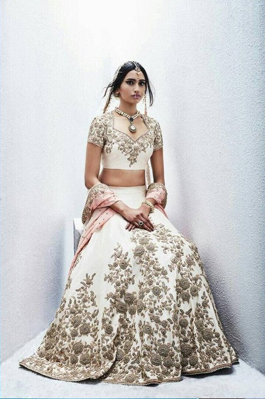 Cream Embroidered Banarasi Party Wear Indian Lehenga Online Shopping