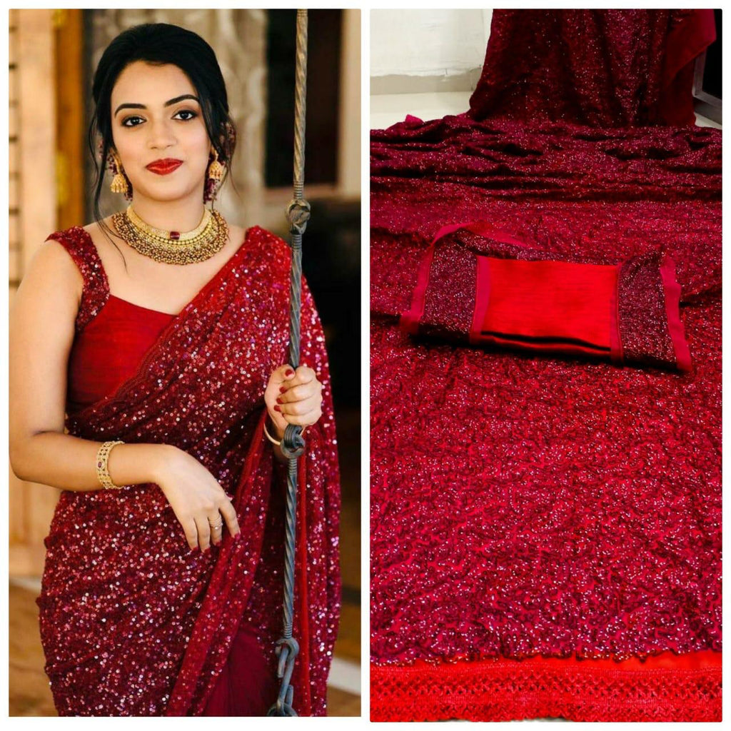 Red Georgette Sequin Indian Saree Online Shopping In India