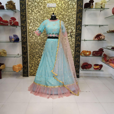 Light Sea Blue Net Party Wear Lehenga Choli Online Shopping