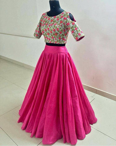 Pink Floral Crop Top Latest Designs Of Lehengas