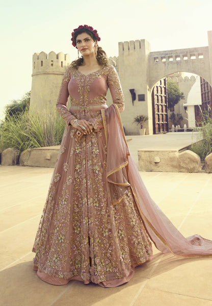 Embroidered Misty Rose Net Party Wear Salwar Suit Fashion