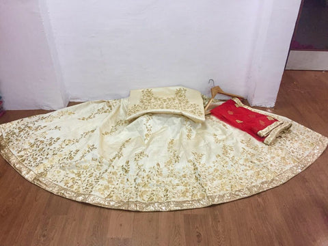 Cream Mulberry Silk Embroidery Indian Wedding Lehenga Online