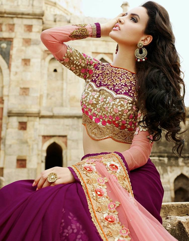 Pink Designer Georgette Bollywood Sarees Online Fashion ,Indian Dresses - 2