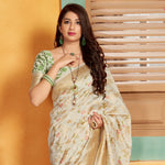 Off White Floral Woven Art Silk Beautiful Saree Online