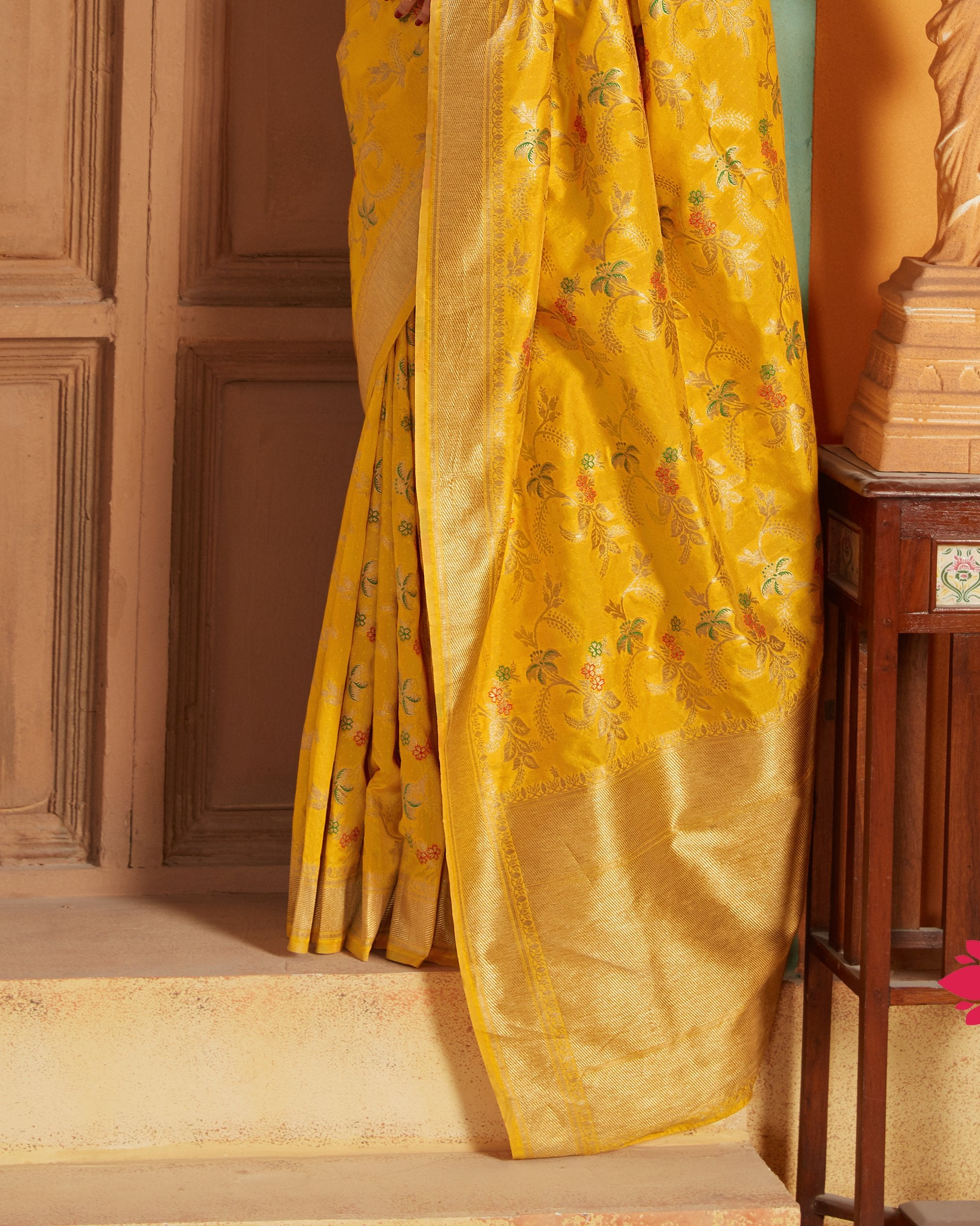Mustard Floral Woven Art Silk New Silk Saree Online