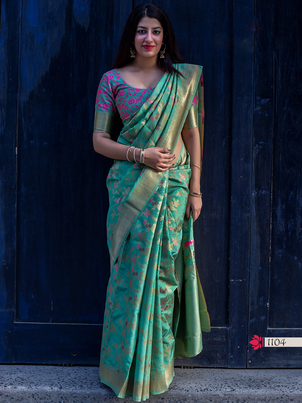 Turquoise Floral Woven Art Silk Ladies Saree Online Shopping
