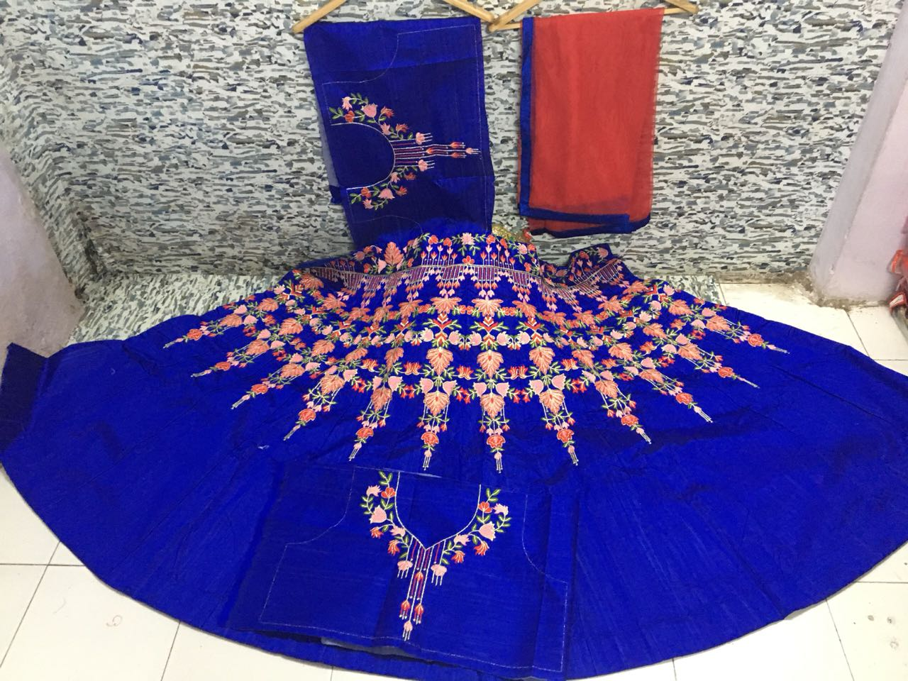 Royal Blue Embroidered Silk New Party Wear Lehenga Online Shopping