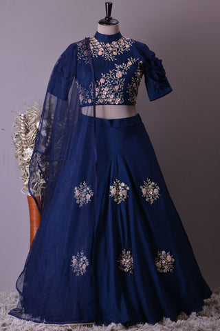 Navy Blue Embroidered Silk Beautiful Party Wear lehenga Choli Dress