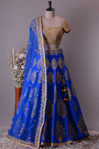 Royal Blue Embroidered Malai Satin Beautiful Indian Lehenga Choli Online