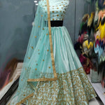 Light Mint Green Malai Satin Beautiful Party Wear Lehenga Dresses