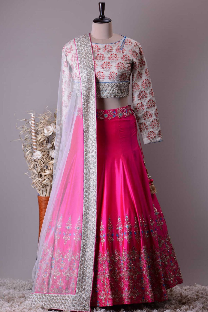 Pink Embroidered Malai Satin Party Wear Lengha Choli Online Shopping