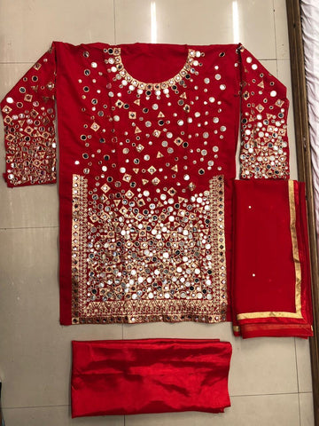 Beautiful Red Silk Mirror Work Punjabi Dresses For Women