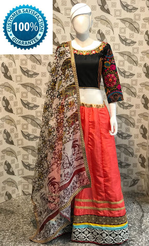 Orange Banarasi Silk Indian Ghagra Choli Online Shopping