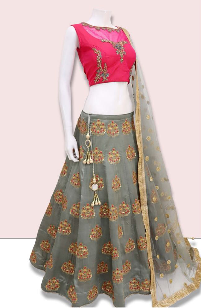 Gray Embroidered Banarasi New Designs Lehengas Online Shopping India