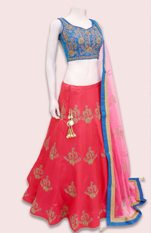 Rose Pink Embroidered Silk Party Wear Indian Lehenga Choli Designs
