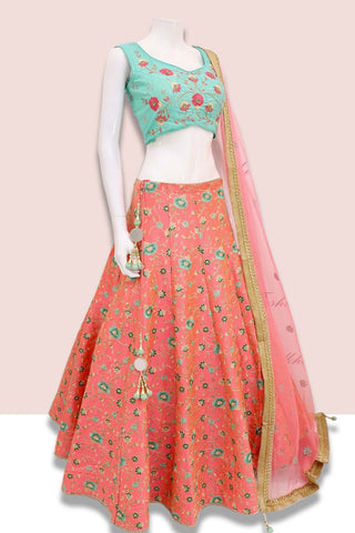 Pastel Orange Embroidered Silk Lehengas Online Shopping India