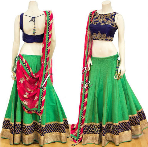 Light Green Chennai Silk Festive Party Wear Lehenga Choli