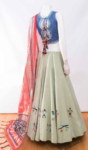 Sage Green Silk Latest Designs Festive Lehenga Choli Online