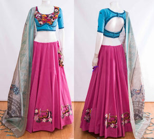 Fuchsia Pink  Silk Latest Indian Festive Ghagra Dress Online Shopping