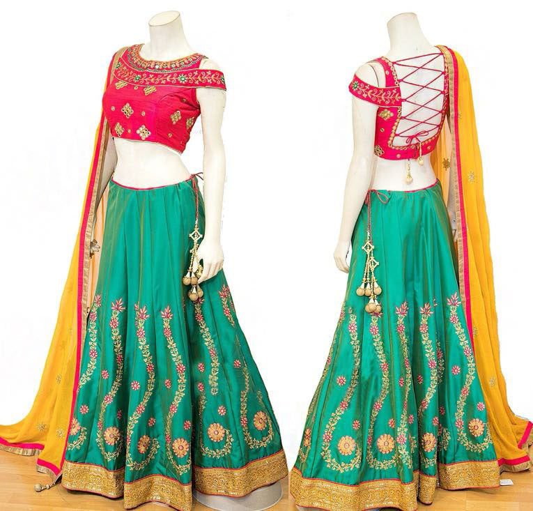 Green Silk New Latest Indian Dress Beautiful Ghagra Choli Online