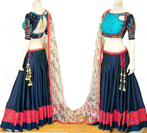 Navy Blue Silk Beautiful Lehenga Best Chaniya Choli Designs
